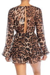 Fashion V-Neck Leopard Print Tie-Up Ruffle Romper with Bell Sleeve