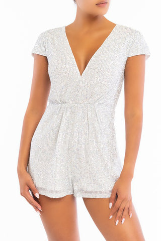 Elegant White Silver Sequence V-Neck Romper