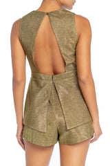 Elegant Deep V-Neck Cut Out Open Back Gold Glitter Romper