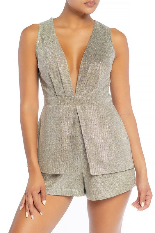 Elegant Deep V-Neck Cut Out Open Back Silver Glitter Romper