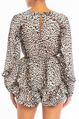 Fashion V-Neck Leopard Print Tie-Up Ruffle Romper with Long Sleeve