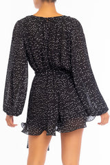Fashion V-Neck Black Polka Dot Print Pleated Tie-Up Ruffle Romper with Long Sleeve