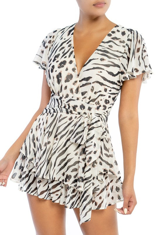 Fashion V-Neck Ivory Leopard Print Tie-Up Ruffle Romper
