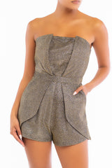 Elegant Strapless Black Gold Glitter Detailed Texture Layered Romper