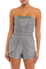 Elegant Strapless Black Silver Glitter Detailed Texture Layered Romper