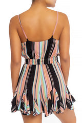 Fashion Strap Ruffle Black Multi-Color Marine Romper