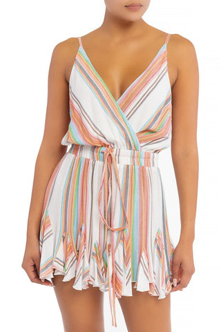 Fashion Strap Ruffle White Multi-Color Marine Romper