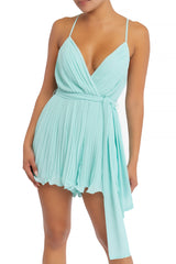 Elegant Strap Pleated Ruffle Tie-Up Light Blue Romper