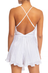 Elegant Strap Pleated Ruffle Tie-Up White Romper