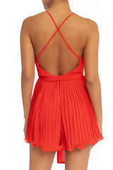 Elegant Strap Pleated Ruffle Tie-Up Red Romper