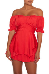 Elegant Off Shoulder Red Tie-Up Ruffle Romper