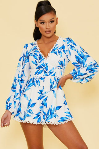 Fashion White Blue Floral Print Lace Romper with Long Sleeve