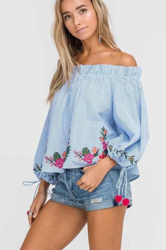 Fashion Puffy Sleeve Off Shoulder Embroidered Blue Stripe Top
