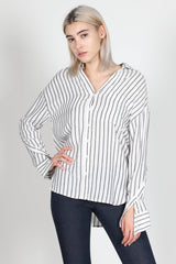 Fashion Casual Crossed Button Detail Sleeve Black Striped Shirt