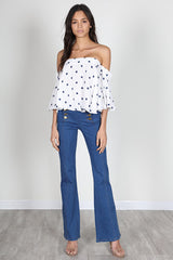 Fashion Blue Polka Dot Off Shoulder White Top