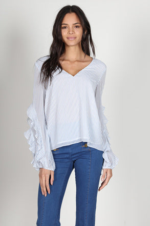 Fashion Marine Stripe Ruffle Long Sleeve Top