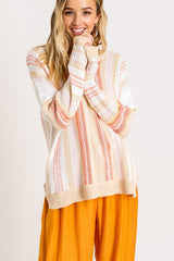 Elegant Beige Multi-Color Striped Knit Sweater