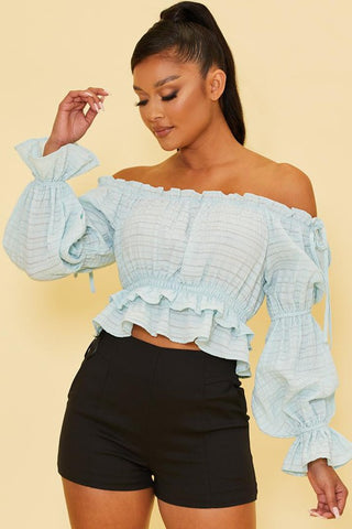 Fashion Off Shoulder Light Blue Textured Ruffle Top with Long Sleeve