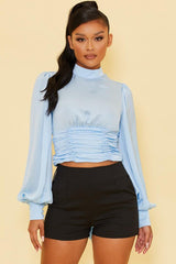Elegant High Neck Satin Light Blue Open Back Tie-Up Top with Bell Sleeve
