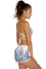 Summer High Waisted White Embroidery Short