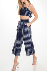 Summer Navy Striped Strap Top
