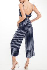 Summer Navy Striped High Waisted Pants