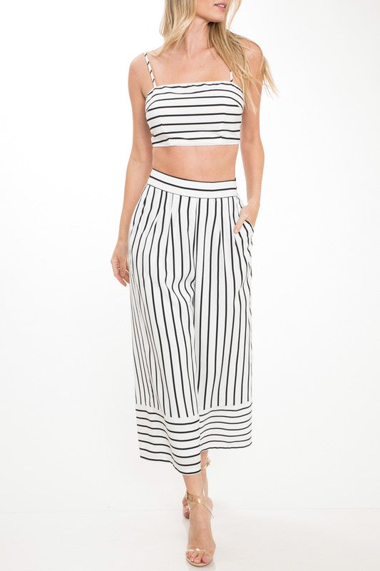 Summer White Striped Strap Top