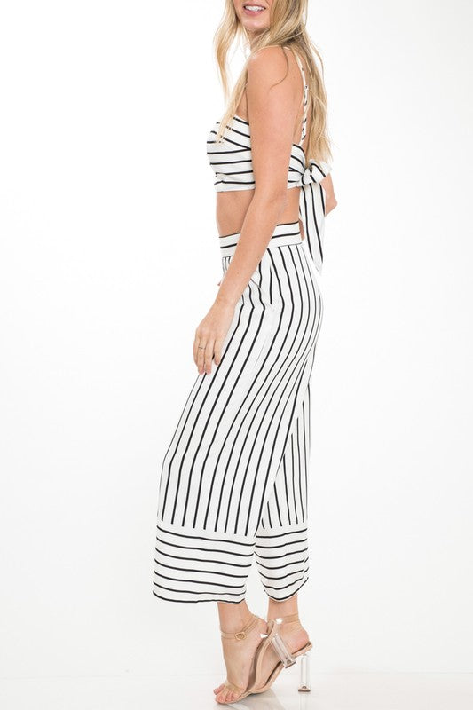 Summer White Striped High Waisted Pants