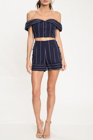 Elegant Summer High Waisted Navy Marine Buttons Detailed Shorts