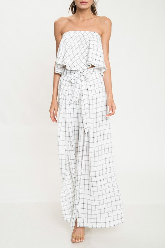 Elegant Contrast Checkered Tie-Up Cut Out Pants