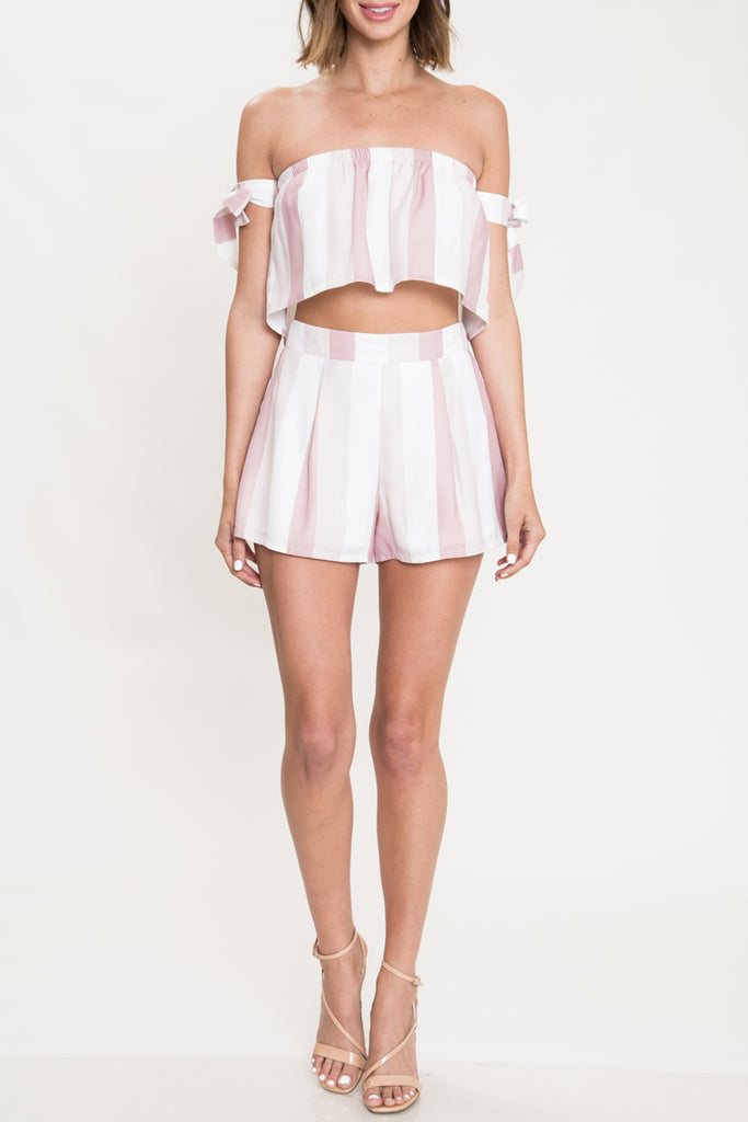 Elegant Pink Striped High Waisted Shorts