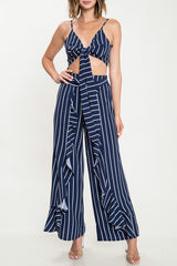 Elegant Ruffle High Waisted Navy Marine Pants