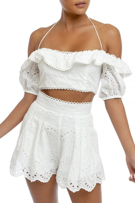 Fashion High Waisted White Lace Eyelet Ruffle Shorts