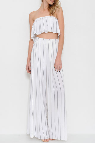 Summer Cut Out White Contrast Pants