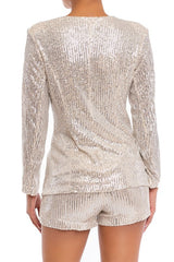 Elegant Nude Silver Sequence Jacket