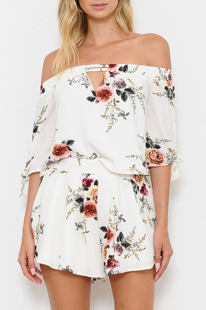 Summer Off Shoulder Floral Print White Top