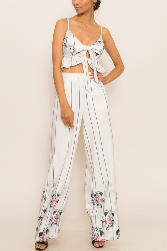 Elegant High Waisted Mixed Pattern White Pants