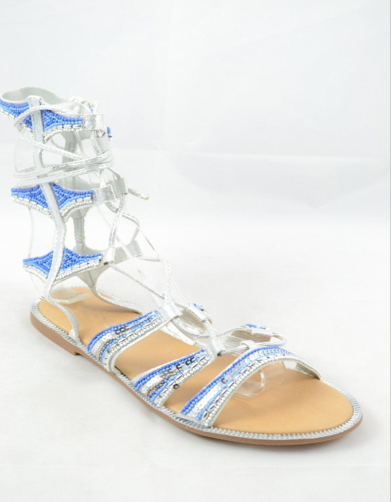 Lace-Up Beaded Blue Gladiator