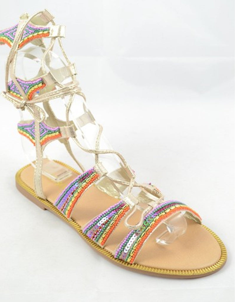 Lace-Up Beaded Multi-Color Gladiator