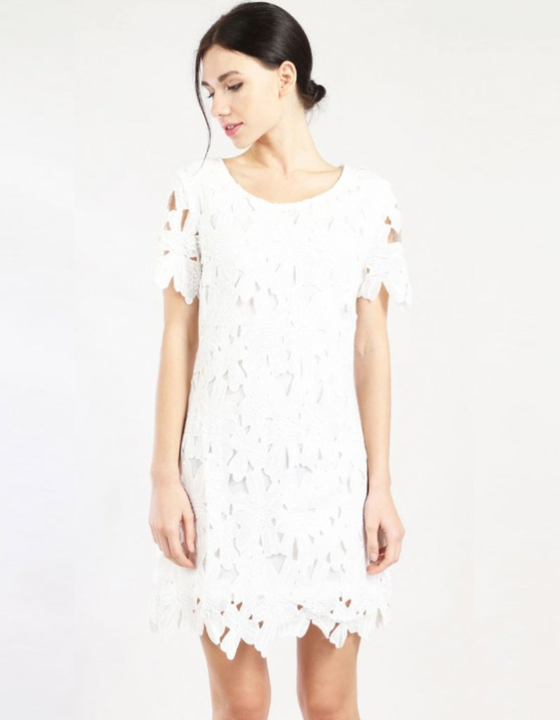 Lace Floral Short Sleeve Dress