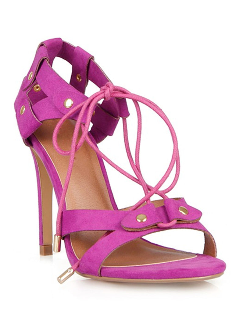Lace Up Summer Fuchsia Sandal Heels