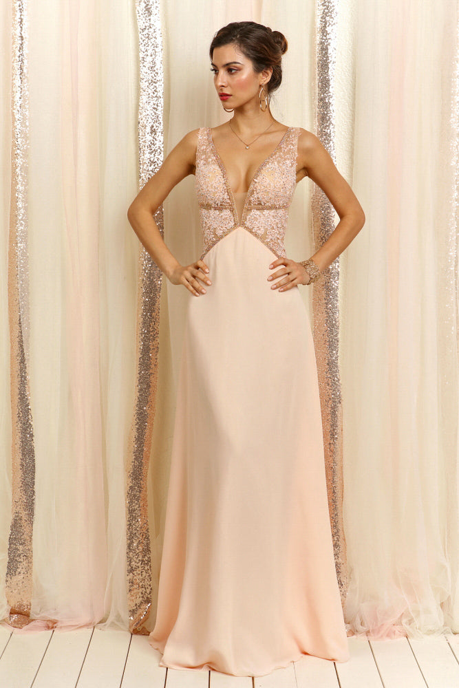 Elegant Cocktail Blush Deep V-Neck Crystal Gown