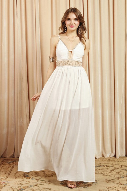 Elegant Ivory Lace Gold Embroidery Detailed Gown