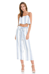 Fashion Summer Marine Tie-Up High Waisted Blue Pants