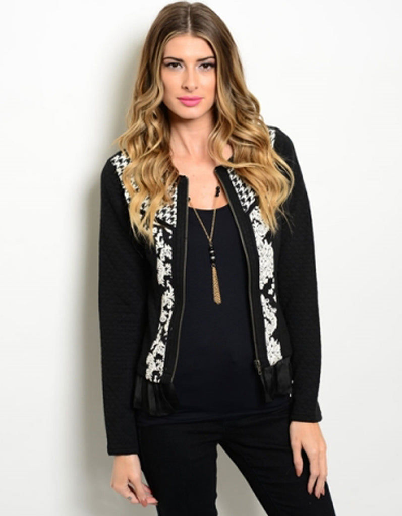Mixed Pattern Black White Jacket