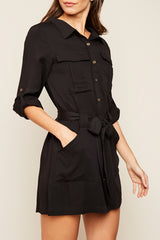 Fashion Black Shirt Dress