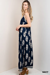 Casual Strap Navy Maxi Dress with Mocha Print