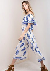Casual Off Shoulder Ivory Jumpsuit with Blue Print