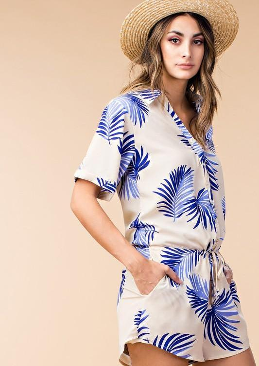 Summer Ivory Button Down Romper with Blue Tropical Print