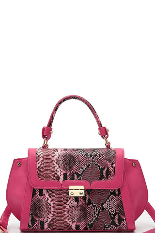 Elegant Pink Animal Print Satchel